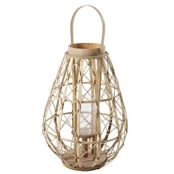 BELEM Glass and Bamboo Lantern (H54.5 x W38 x D38cm)