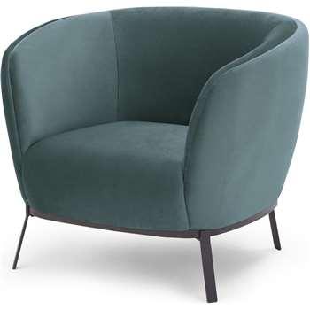 Belle Accent Chair, Marine Green Velvet (H76 x W90 x D80cm)