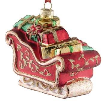 Belleek Living - Sleigh Glass Christmas Tree Decoration (H5 x W9 x D8cm)