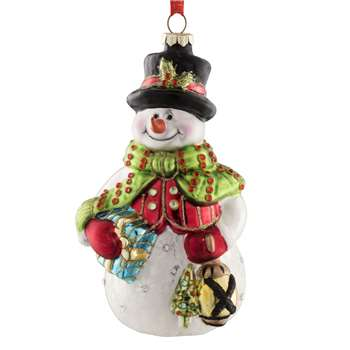 Belleek Living - Snowman Glass Christmas Tree Decoration (H13 x W7cm)