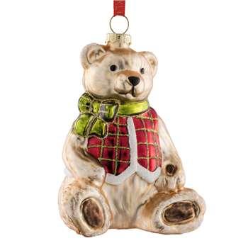 Belleek Living - Teddy Bear Glass Christmas Tree Decoration (H11.5 x W7.5 x D9cm)