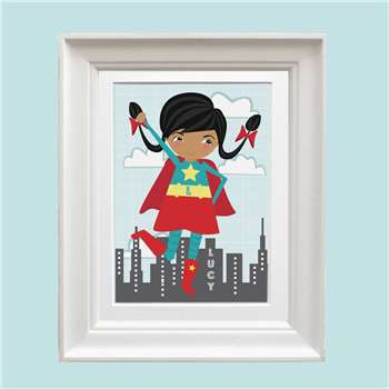 Bells Scambler Personalised Super Girl Print (A4 Size)