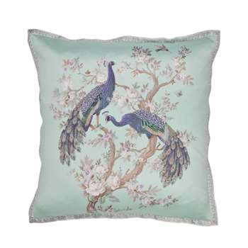 Belvedere Embroidered Duck Egg Cushion (H50 x W50cm)