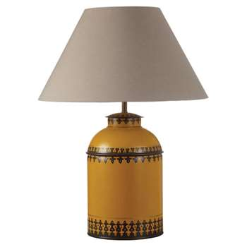 Berber Handpainted Table Lamp, Large - Yellow (37 x 23cm)