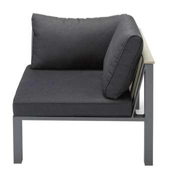 BERGAME Aluminium garden sofa corner unit in charcoal grey (66 x 87cm)