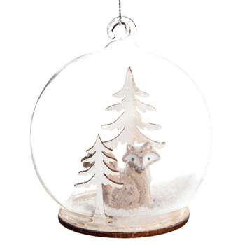 BERGEN Glass Christmas Bauble with Christmas Tree and Fox Scene (H8 x W8 x D8cm)
