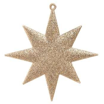 BERGER - Golden Beige Star Christmas Hanging Decoration (H13 x W12.5 x D0.5cm)