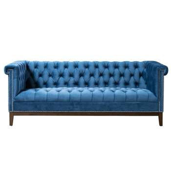 Bergmann Three Seat Sofa – Navy Blue (H80 x W213 x D87cm)