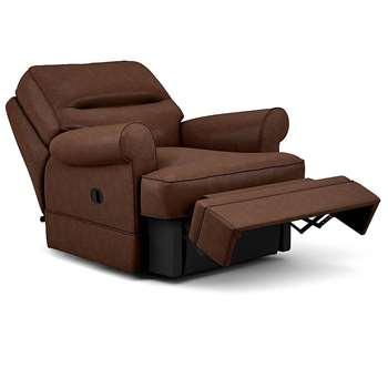 Berkeley Split Back Chair Recliner, Alaska Leather, Teak (Manual) (H96 x W98 x D102cm)