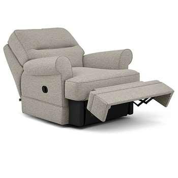 Berkeley Split Back Chair Recliner, Barvile Weave, Silver (Manual) (H96 x W98 x D102cm)