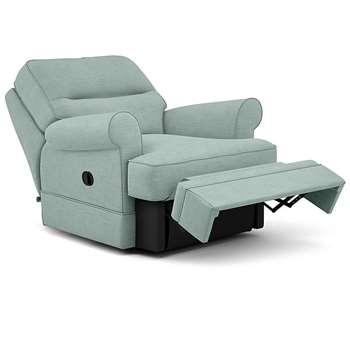 Berkeley Split Back Chair Recliner, Heatley Twill, Aqua (Manual) (H96 x W98 x D102cm)