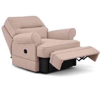 Berkeley Split Back Chair Recliner, Heatley Twill, Blush (Manual) (H96 x W98 x D102cm)