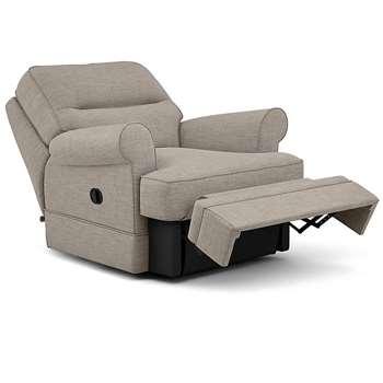 Berkeley Split Back Chair Recliner, Heatley Twill, Mushroom (Manual) (H96 x W98 x D102cm)