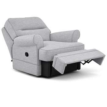 Berkeley Split Back Chair Recliner, Heatley Twill, Silver (Manual) (H96 x W98 x D102cm)