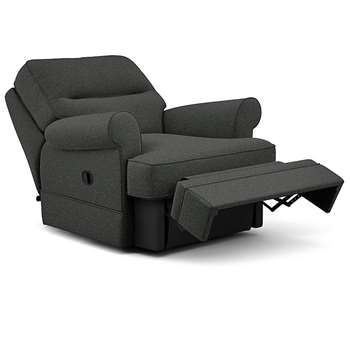 Berkeley Split Back Chair Recliner, Kodi - Aquaclean, Charcoal (Manual) (H96 x W98 x D102cm)