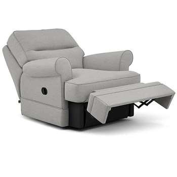 Berkeley Split Back Chair Recliner, Kodi - Aquaclean, Steel (Manual) (H96 x W98 x D102cm)