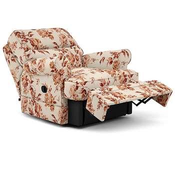 Berkeley Split Back Chair Recliner, Marais Floral, Burnt Orange (Manual) (H96 x W98 x D102cm)