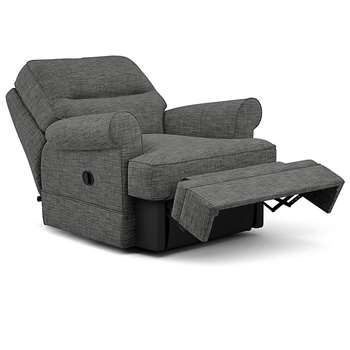 Berkeley Split Back Chair Recliner, Navora Texture, Gunmetal (Manual) (H96 x W98 x D102cm)