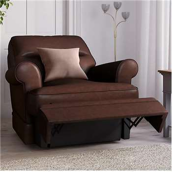 Berkeley Split Back Chair Recliner, Nevada Leather, Chestnut (Manual) (H96 x W98 x D102cm)