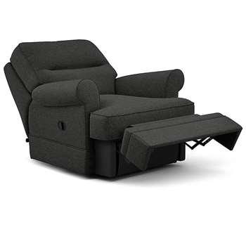 Berkeley Split Back Chair Recliner, Nola - Aquaclean, Charcoal (Manual) (H96 x W98 x D102cm)