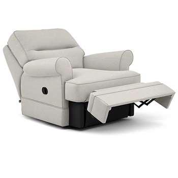 Berkeley Split Back Chair Recliner, Nola - Aquaclean, Natural (Manual) (H96 x W98 x D102cm)