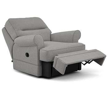 Berkeley Split Back Chair Recliner, Nola - Aquaclean, Steel (Manual) (H96 x W98 x D102cm)