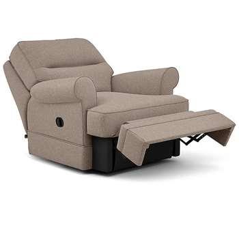 Berkeley Split Back Chair Recliner, Rivero, Taupe (Manual) (H96 x W98 x D102cm)
