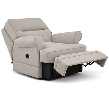 Berkeley Split Back Chair Recliner, Skye, Silver (Manual) (H96 x W98 x D102cm)