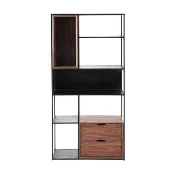 BERKLEY Metal industrial shelf unit, black W 90cm