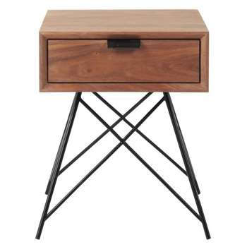 BERKLEY Solid Walnut Vintage Bedside Table With Drawer (H45 x W37 x D36cm)