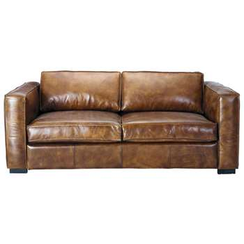 BERLIN 3 seater distressed leather sofa bed in brown (81 x 208cm)