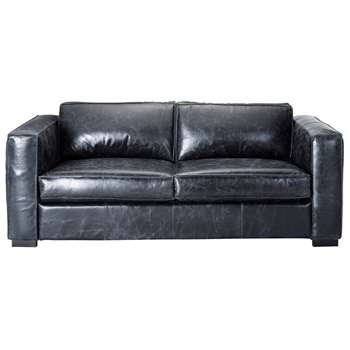 BERLIN 3 seater leather sofa bed in black (81 x 208cm)