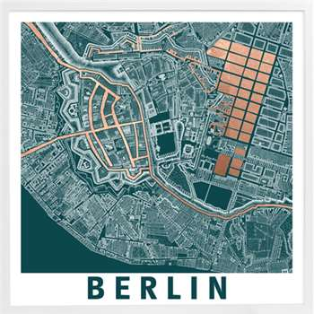 Berlin Graphic Map, Framed Print (55 x 55cm)