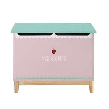 BERLINGOT Wooden child's toy chest in pink W 70cm