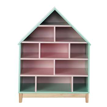 BERLINGOT Wooden doll's house bookcase in pink (100 x 75cm)