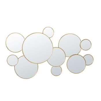 BERVERLY Round Gold Metal Mirrors (H62 x W106 x D3cm)
