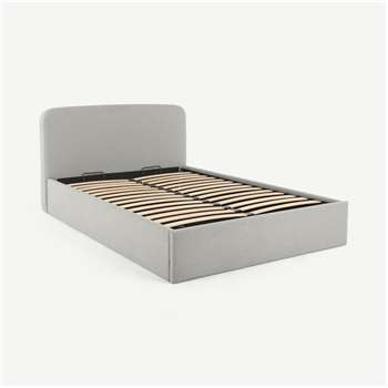 Besley Super Kingsize Bed with Ottoman Storage, Hail Grey (H96 x W196 x D219cm)