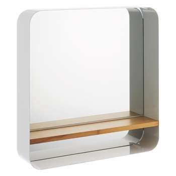 Bethany White wall-mounted mirror with bamboo shelf (55.3 x 55cm)