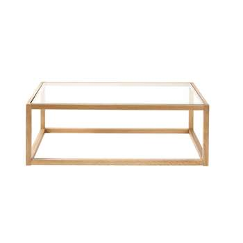 BETSY - Glass and Solid Oak Coffee Table (H35 x W100 x D60cm)