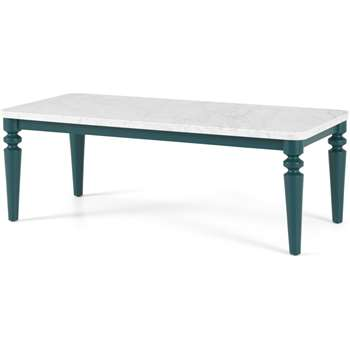 Betty Coffee Table, Marble & Teal (H43 x W120 x D60cm)