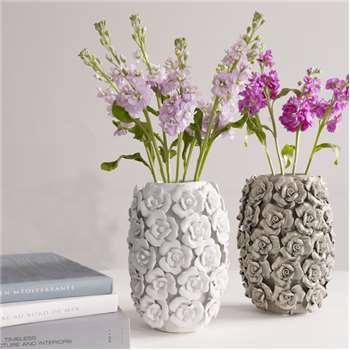 Betty Cylinder Vase - White (H25 x W14.5 x D14.5cm)