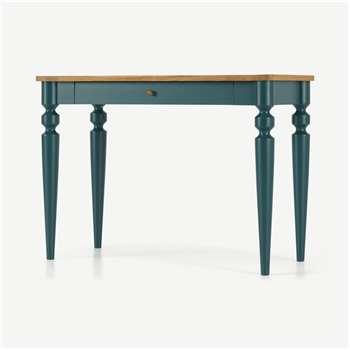Betty Desk, Oak and Teal (H77 x W105 x D50cm)