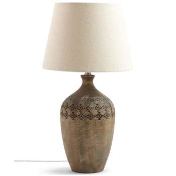 Bianca Wooden Urn Table Lamp, Grey Washed (H51.5 x W28 x D28cm)