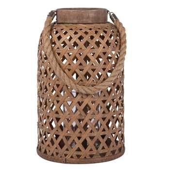 BINH - Beige Bamboo and Cord Lantern (H36 x W19 x D19cm)