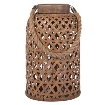 BINH - Beige Bamboo and Cord Lantern (H36 x W22.5 x D22.5cm)