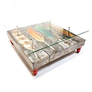 Cappa E Spada - Bird Feather Coffee Table with Glass Top (H38 x W96.5 x D101.6cm)