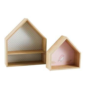 BIRD SONG 2 Paulownia House Shelves (39 x 34cm)