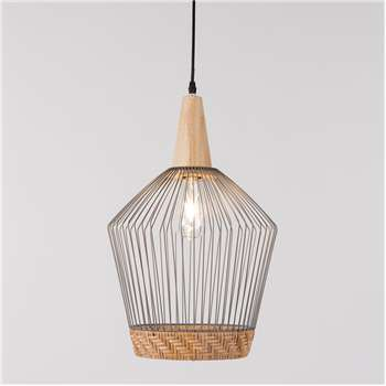 Birdy Wire Pendant Light with Braided Rattan Border - Long (Diameter 31cm)