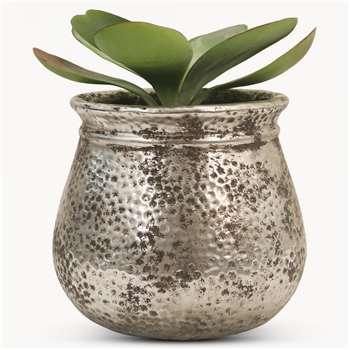 Birkdale Hammered Planter in Silver Finish (H13.5 x W15 x D15cm)