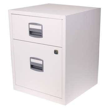 Bisley A4 2 Drawer Filing Cabinet on Wheels, Chalk White (H52.9 x W41.3 x D40cm)